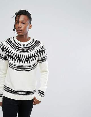Asos DESIGN Curved Yoke Fairisle Sweater In White