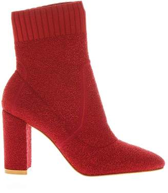 Gianvito Rossi Red Stretch Knit Ankle Boots