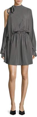 Robert Rodriguez Star-Print Dolman-Sleeve Silk Short Dress