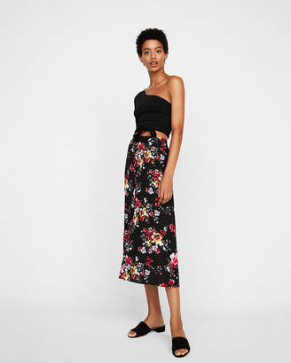 Express Floral Button Front Midi Skirt