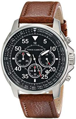 Vince Camuto Men's VC/1070BKSV The Tradesman Stainless Steel Watch with Tan Leather Strap