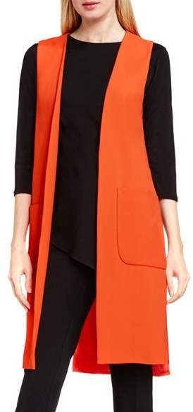 Vince Camuto Women S Patch Pocket Open Front Long Vest