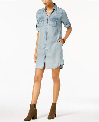 KUT from the Kloth Petite Ruthy Striped Chambray Denim Shirtdress
