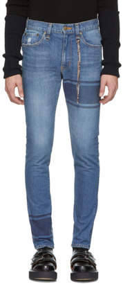 mastermind WORLD Indigo Striped Skinny Jeans
