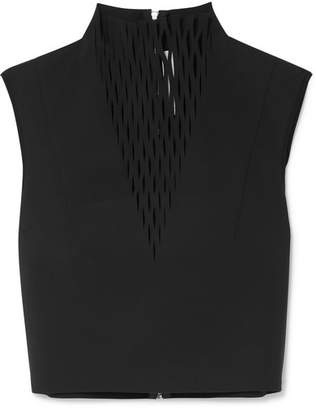 Dion Lee Lory Silk-trimmed Laser-cut Jersey Top - Black