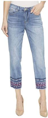 Tribal Lightweight Stretch Denim 25 Capris with Embroidery At Hem in Blue Cloud Women's Capri