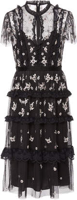 Needle & Thread Monochrome Ditsy Embroidered Tulle Mini Dress