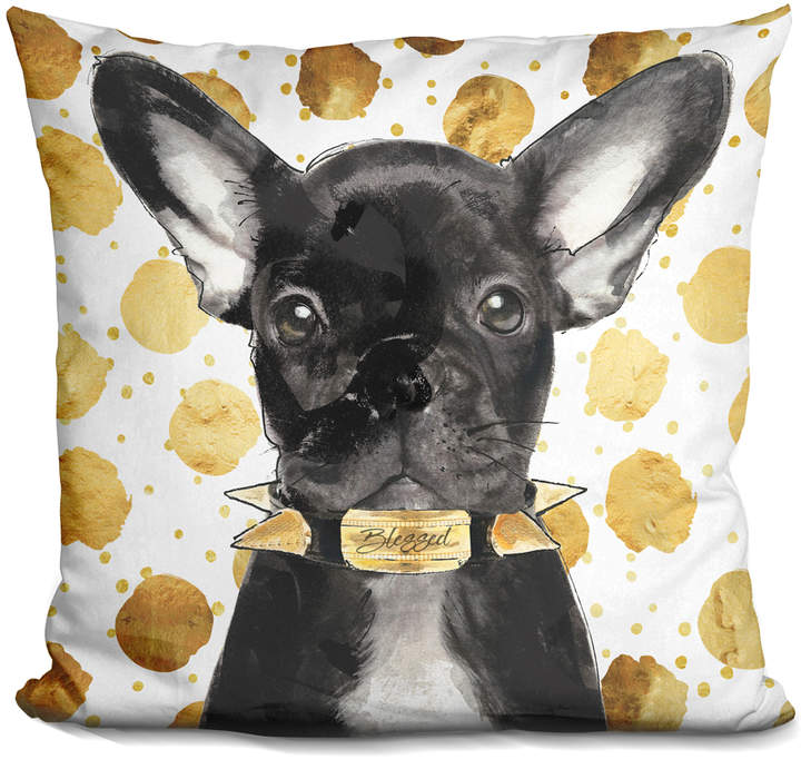 By Jodi Blessed Frenchie Throw Pillow