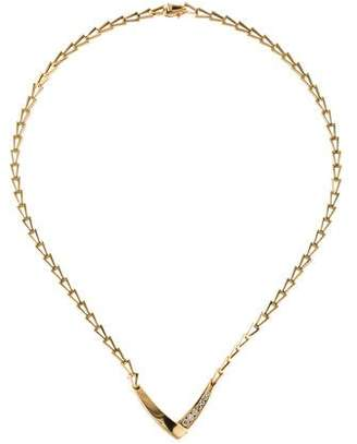 14K Diamond Geometric V Pendant Necklace