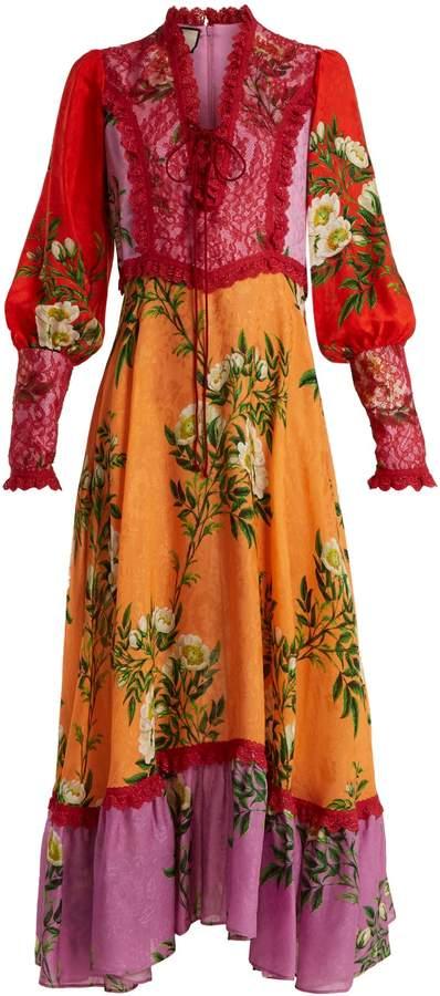 GUCCI Contrast-panel floral-print crepe dress