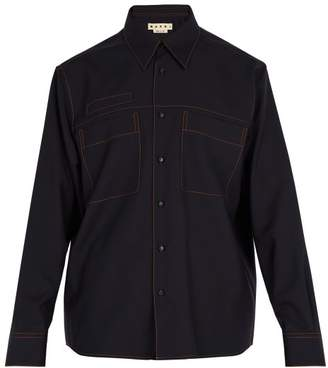 Marni Oversized Wool Shirt - Mens - Navy