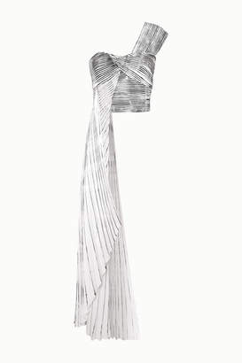Semsem One-shoulder Asymmetric Printed Pleated Crepe Top - White