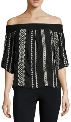 Trixxi Short Sleeve Rayon Shoulder Blouse-Juniors