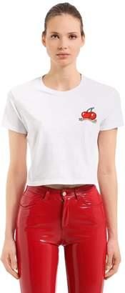 Fiorucci Vintage Cherries Jersey Crop T-Shirt