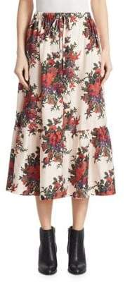 McQ Silk Crepe Floral Ruffled Midi Skirt