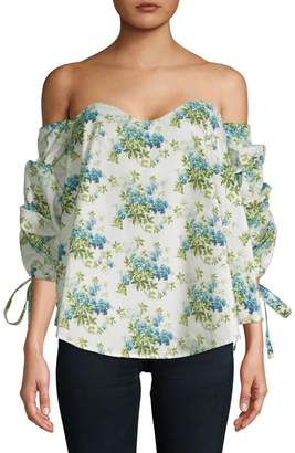 1st Sight Bonning Off-The-Shoulder Floral Cotton Blouse
