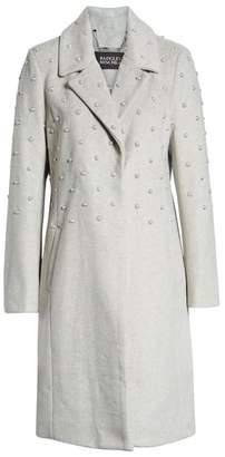 Badgley Mischka Imitation Pearl Embellished Wool Coat