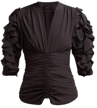 Isabel Marant Andora Ruffled Silk Blend Top - Womens - Black