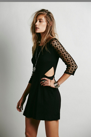 Free People Womens Life in the Fast Lane Cutout Dress