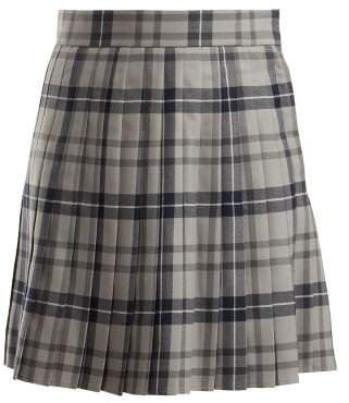 Thom Browne Checked Pleated Wool Blend Skirt - Womens - Grey Multi