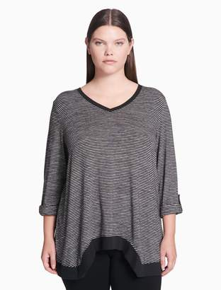 Calvin Klein plus size performance striped v-neck tee