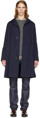 Ami Alexandre Mattiussi Navy Wool Straight Coat