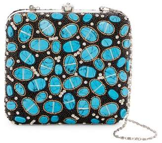 G Lish G-Lish Beaded & Oval Stone Squared Hard Case Clutch