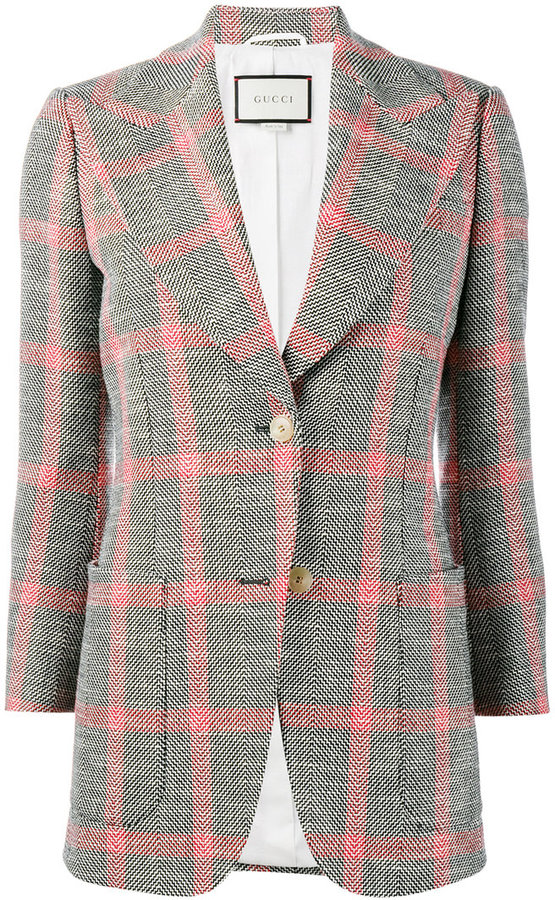 Gucci embroidered check jacket