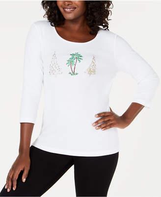 Karen Scott Embellished Holiday-Graphic T-Shirt