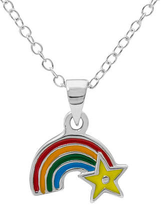 Hallmark Kids Sterling Silver Enamel Rainbow Pendant Necklace