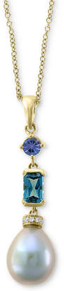 "Effy Blue Cultured Freshwater Pearl (12 x 10mm) & Multi-Gemstone (1 ct. t.w.) 18"" Pendant Necklace in 14k Gold"