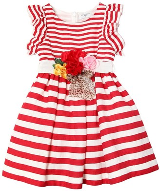 MonnaLisa Striped Cotton Ottoman Party Dress