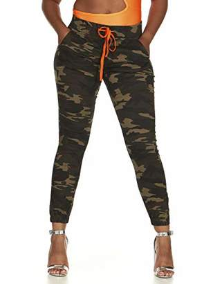 Cover Girl Junior's Plus Size Pull On Camo Solid Mid Rise String Jogger Fit Sporty Active