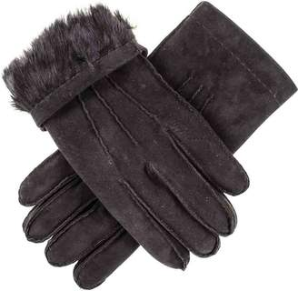 Black Hand Stitched Suede Gloves with Rabbit Fur Lining