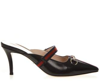Gucci Black Leather Mid-heel Slide With Web