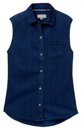 Tractr Sleeveless Button Shirt (Big Girls)