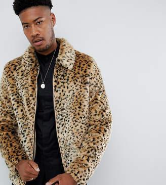 Asos DESIGN Tall faux fur western jacket in leopard print