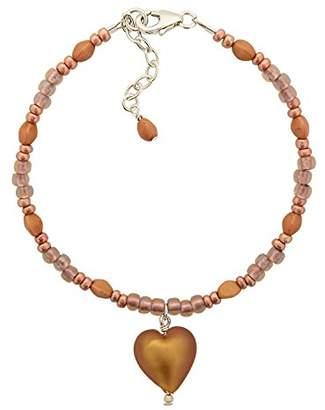 Glass Heart Amanti Venezia Frosted Caramel Murano Bracelet