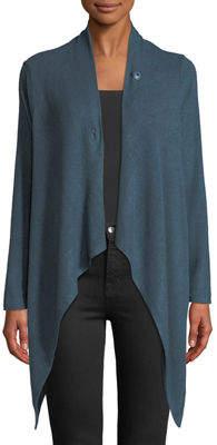 Bobeau Draped One-Button Asymmetric Cardigan