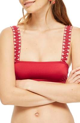 Topshop Zigzag Trim Crop Bikini Top