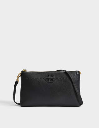 Tory Burch Mcgraw Top Zip Crossbody Bag in Black Calfskin