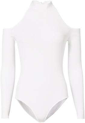 Cushnie et Ochs Tie Neck Cold Shoulder Bodysuit $650 thestylecure.com