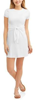 No Boundaries Juniors' Brushed Short Sleeve Tie Front Tunic Dress