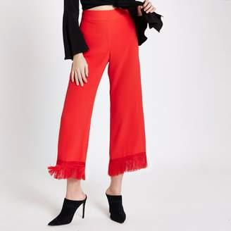 River Island Womens Red tassel hem cropped culottes