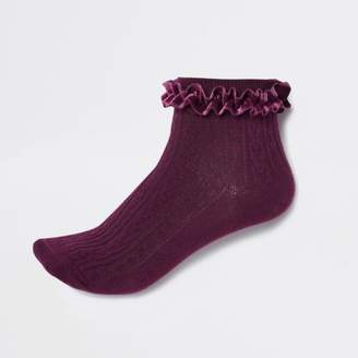 River Island Red cable knit velvet frill ankle socks