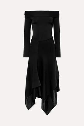 Victoria Beckham Off-the-shoulder Asymmetric Stretch-knit Midi Dress - Black
