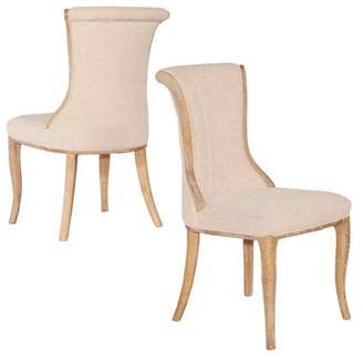 Linon Sheffield Linen Flared Back Chair, Set of 2 pcs, Assembled