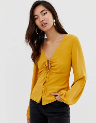 Asos Design DESIGN long sleeve tea blouse with ruched detail