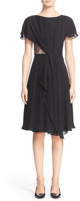 Women's Jason Wu Lace Inset Silk Georgette Dress $995 thestylecure.com