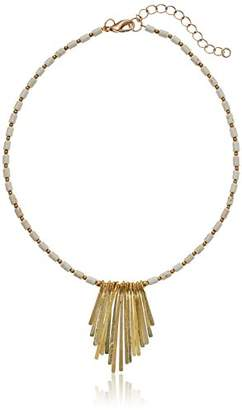 Panacea Howlite Short Neck with Metal Fringe Necklace